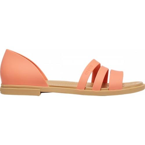 Crocs™ Women's Tulum Open Flat  Sandal Grapefruit/Tan